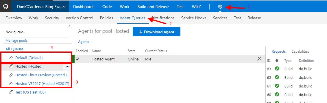 Gestionar agentes de compilación en VSTS (Visual Studio Team Services)