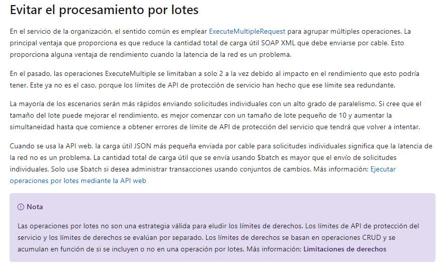 Captura de página oficial de Microsoft con explicación del procesamiento por lotes. Se accede desde el enlace previo.