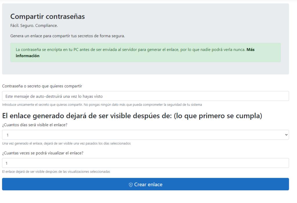 Pantalla para generar el enlace para compartir una contraseña